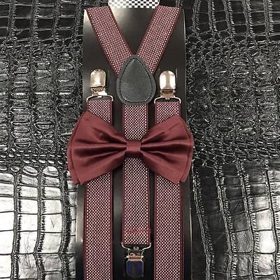 Burgundy Bow Tie & Pattern Suspender Set Tuxedo Wedding Formal Mens Accessories