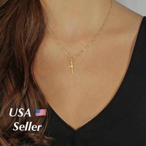 Women's Gold Silver Plated Small Tiny Cross Pendant Necklace Beaded Chain  N2 Fashion Jewelry