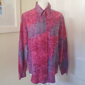 Pink/lilac pure silk shirt with long sleeves UK size 10