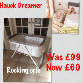 BRAND NEW IN BOX HAUCK DREAMER ROCKING CRIB WITH MATTRESS IN MULTI DOTS SAND FROM BIRTH