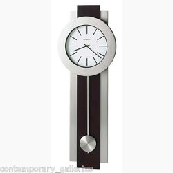 Modern Contemporary Brushed Nickel & Cherry Pendulum Wall Clock Battery Operated