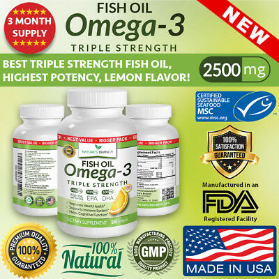 BEST TRIPLE STRENGTH Omega 3 Fish Oil Pills (3 MONTH SUPPLY) 2500mg HIGH