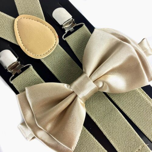 Champagne Gold Suspender + Clip On Bow-tie Matching Set For Adults Men Women