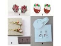 Christmas accessories selection: earrings, rings and hair pins