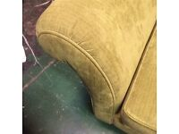 Full size Chaise in green velour fabric