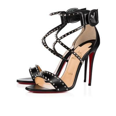 NIB Christian Louboutin Choca Spikes 100 Black Criss Cross Strap Heel Pump 39.5