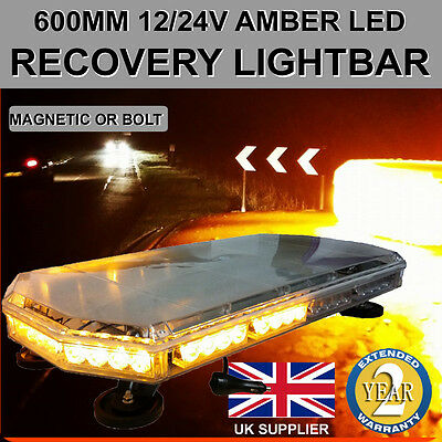 Amber LED Recovery Light bar 600mm 12/24v Flashing Beacon Truck Light Strobes