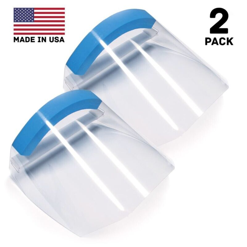 (2) Clear Transparent Adjustable Full Face Shield Plastic Protective Equipment