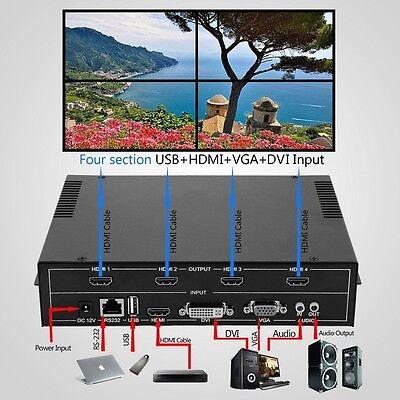 4-Channel HDMI VGA DVI USB Video Processor 2x2 TV Projector Video WallController