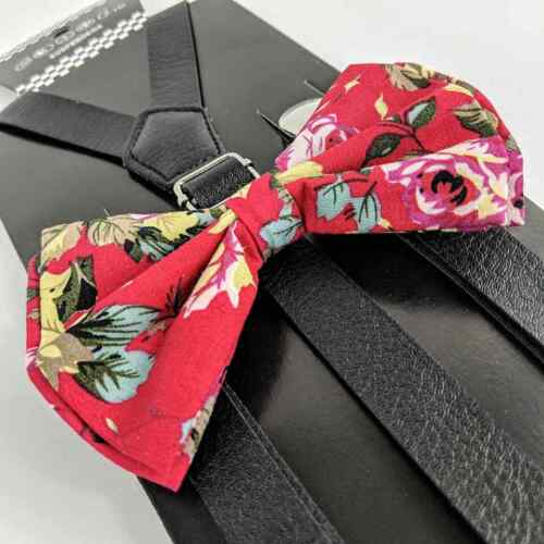 Black Leather Pink Floral Suspender And Bow Tie Set Tuxedo Wedding Formal