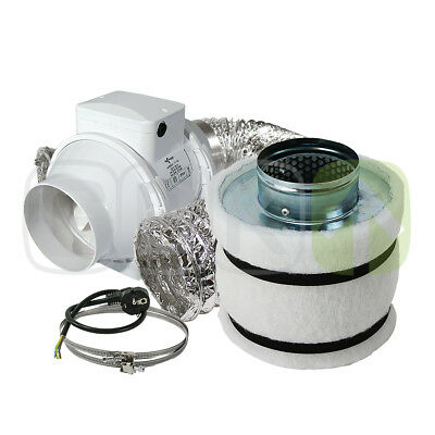 Klimaset 160m³/h Abluft-set AKF Aktivkohle-filter Lüftungsset Lüfter-set Grow