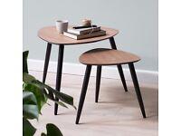 NEW Set of 2 Scandinavian Retro Nested Side / Coffee Tripod Tables - Walnut Black - Unwanted Gift