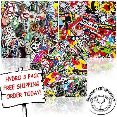 Hydrographic Film Water Transfer Printing Film Hydro Dip Sticker Bomb 3 Packs