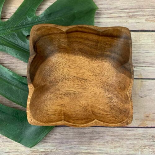 Monkey Pod Wood Vintage Scallop Edge Decorative Bowl Square Small Tropical Decor
