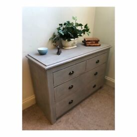 French linen shabby chic chest of drawers (Delivery available )