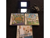 Nintendo DS Lite (Black) & 3 games.