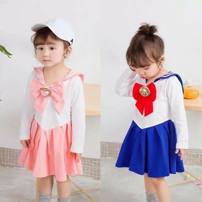 Japanese Anime Kids Baby Girls Sailor Moon Cosplay Bowknot Dress Kawaii Lolita - Baby Anime Kostüm