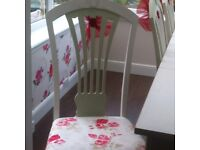 Shabby chic Dining table and 6 chairs with dresser cabinet