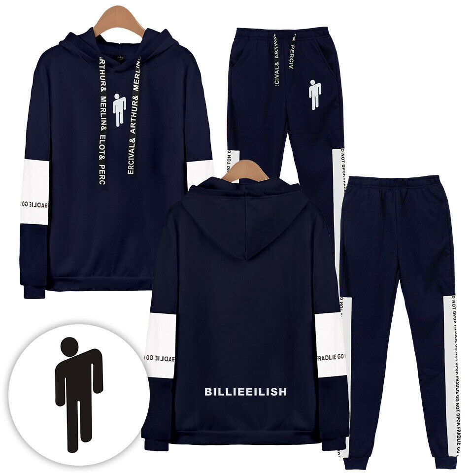 New Billie Eilish Women Girls Hoodie Kapuzenpullover Coat Sweatshirts+Pants Suit