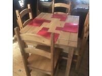 DINING TABLE AND 4 CHAIRS, TV UNIT, NEST OF 3 TABLES ALL IN SOLID PINE