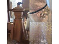 Gold Bardot swing dress & Matching Fascinator perfect for wedding guest