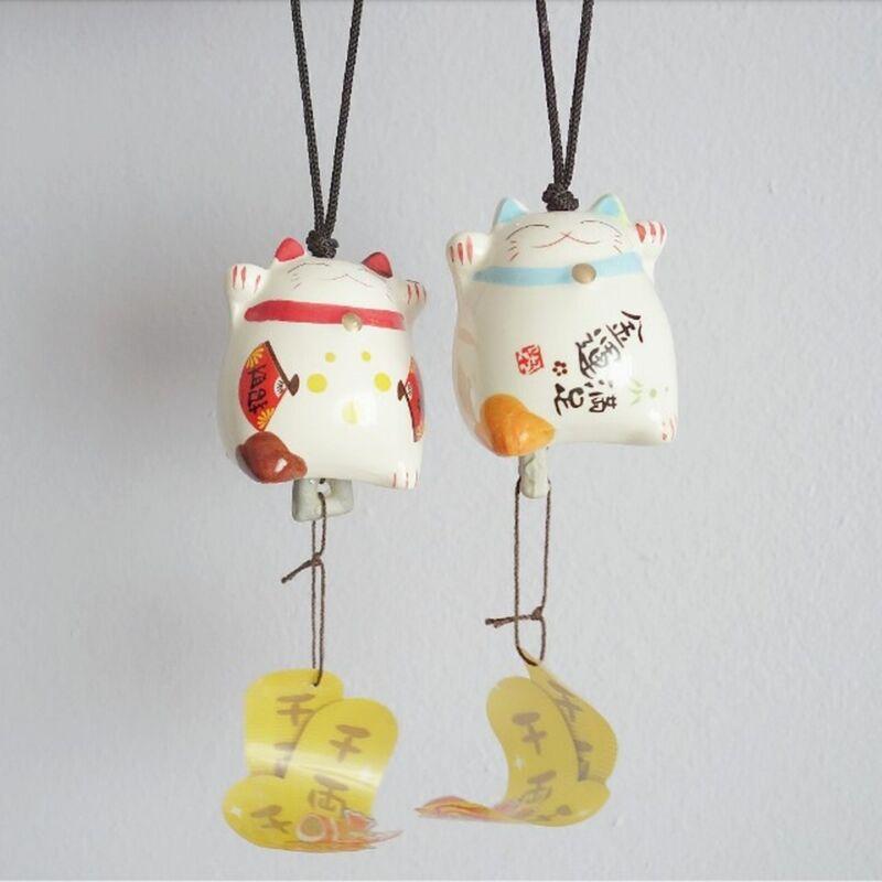 Lucky Cat Ceramic Wind Chime Japan Kawaii