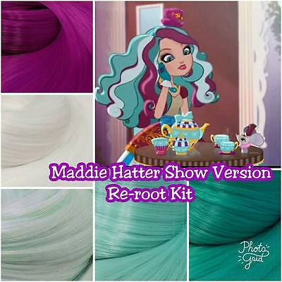 Ever After High Maddie Hatter Doll Re-root Pack TV Colors Nylon Hair Intl SHIP