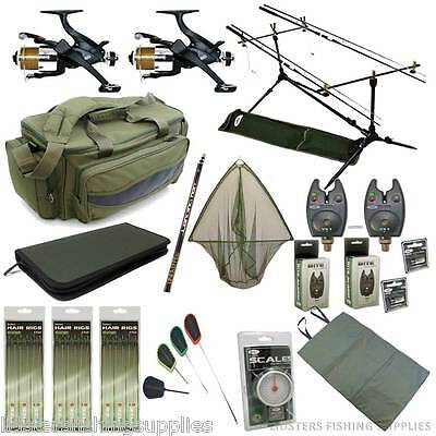 Full Carp Fishing Starter set up 2 Rods and Reels Bag Alarms Holdall Tackle CR