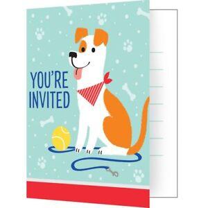 8 X DOG PARTY INVITATIONS BIRTHDAY RED BOYS GIRLS INVITES WITH ENVELOPES