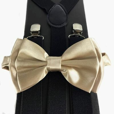 Light Champagne Gold Bow Tie &Suspender Matching Set Tuxedo Wedding Accessories  - Lighted Bow Tie