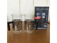 Bodum Coffee Maker Press Cafetière and 2 Bodum Glass Coffee Cups