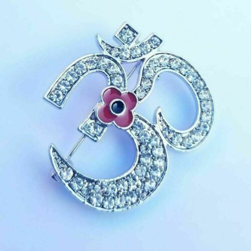 Stunning+Diamonte+Silver+Plated+Indian+OMPoppy+Hindu+British+India+Brooch+Pin