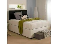 EXPRESS DELIVERY - DOUBLE DIVAN BED WITH 9INCH THICK DEEP QUILTED MATTRESS- FAST DELIVERY