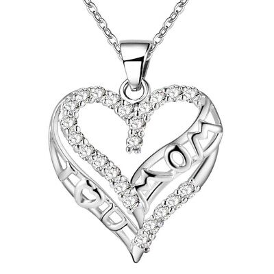 925 Sterling Silver Cz Cubic Heart   I Love You Mom   Mother Pendant Necklace