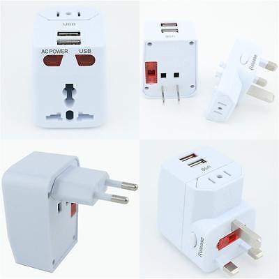 Universal World Travel Adapter AC 2 USB Power US/UK/AU/EU Plug
