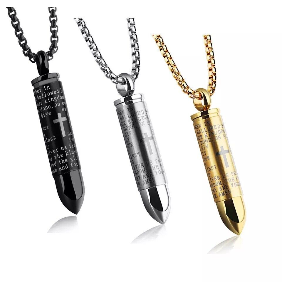 Men Cross Pendant Necklace Stainless Steel Lord's Prayer Bullet Chain US Fashion Jewelry
