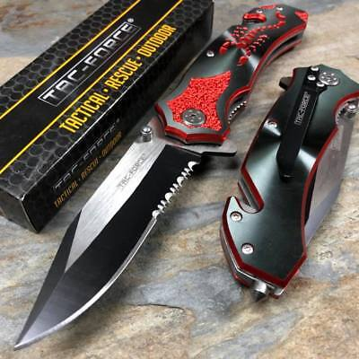 Aluminum Knife - Tac Force  Open Assisted Black Aluminum Handle with red scorpion Speedster Knife