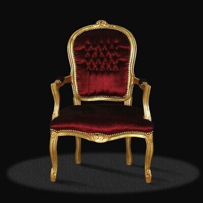 Barockstuhl bordeaux rot gold luxus style Lounge möbel modern design repro antik - Rote Moderne Lounge-stühle