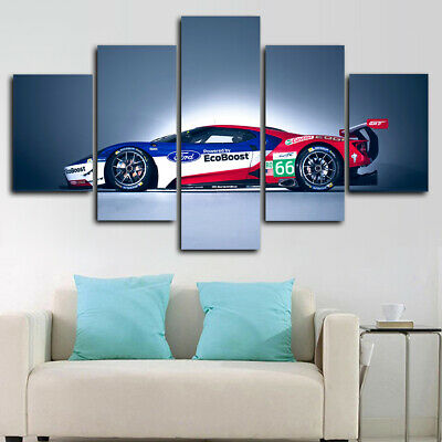 Framed Ford GT Race Car Poster 5 Piece Canvas Print Wall Art Decor Race Car Framed Art