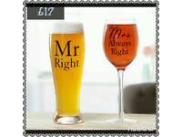 Pint & wine glass set