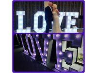 WEDDING LOVE LETTER PROP HIRE ESSEX, SUFFOLK , COLCHESTER IPSWICH CHELMSFORD BRIDE GROOM