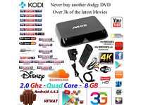 M8S Android Box 4K Smart TV SUPERFAST KODI Quadcore 2.0mhz 2gb ram LIVE SKY SPORTS,BT SPORTS,MOVIES
