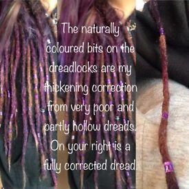 Dreadlocks corrections, roots knitting, dreads knitting, dreadlocks rolling, dreadlocks filling,