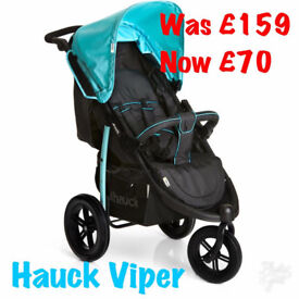 NEW IN BOX HAUCK VIPER SPORTY THREE WHEEL JOGGER PUSHCHAIR PRAM BUGGY STROLLER BLUE BLACK £70