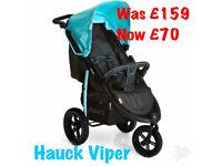 NEW IN BOX HAUCK VIPER SPORTY THREE WHEEL JOGGER PUSHCHAIR PRAM BUGGY STROLLER BLUE BLACK £70