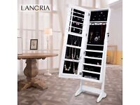Langria jewelery cabinet white with mirror