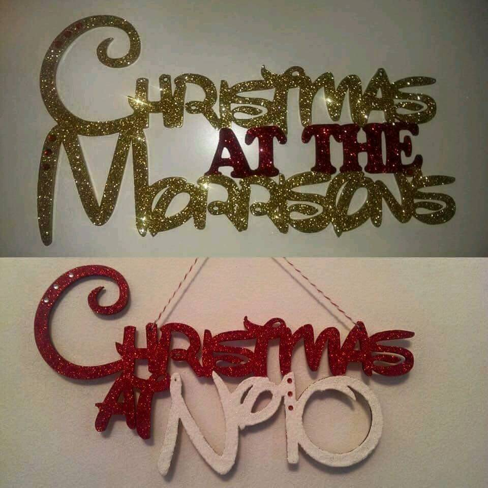 Personalised Glittered Christmas Sign