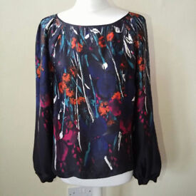 Lovely black/multicoloured top by Evie UK size 12