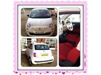 White fiat 500 for sale. Good condition with low mileage.