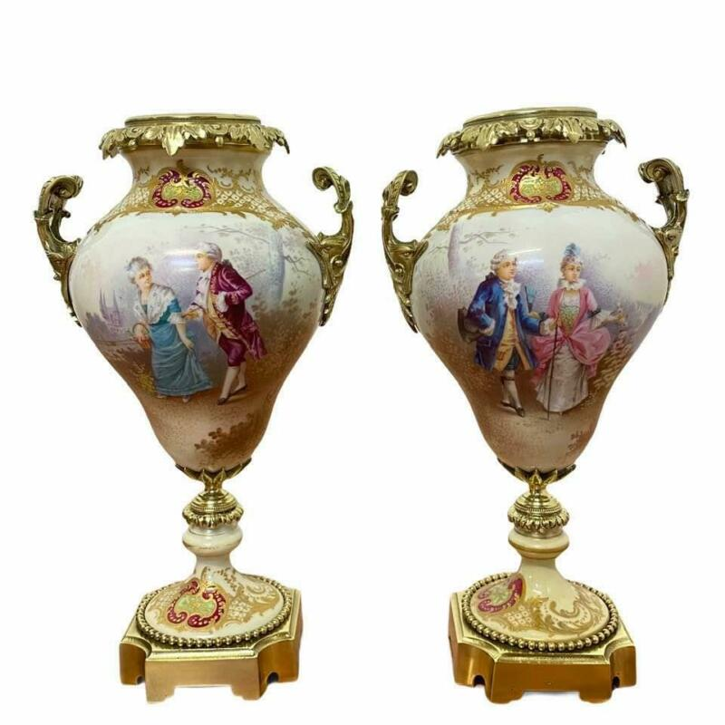 Antique Pair of French Hand Painted Rollie Gallant Scene Porcelain Ormolu Sevres
